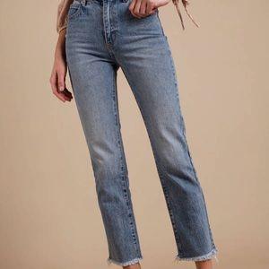 Free People Straight Leg Raw Hem Jeans